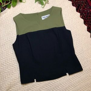 Vintage | Olive and Navy Color Block Blouse